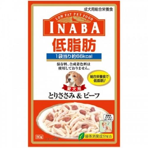 INABA 低脂肪軟包 雞肉+牛肉濕狗糧