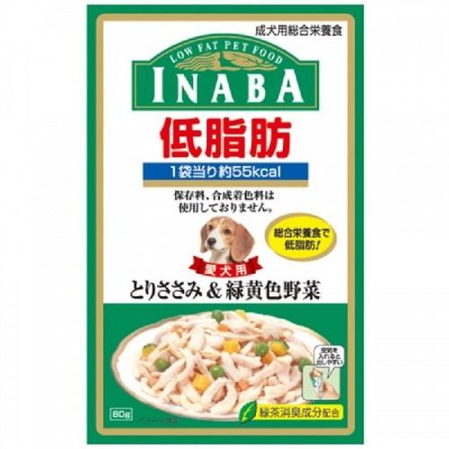 INABA 低脂肪軟包 雞肉+綠黃色野菜濕狗糧