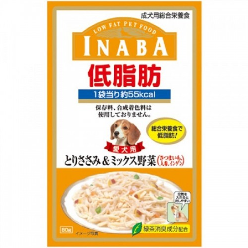 INABA 低脂肪軟包 雞肉+雜菜濕狗糧