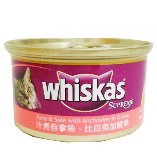 WHISKAS 偉嘉 汁煮吞拿魚,比目魚加鯷魚貓罐頭