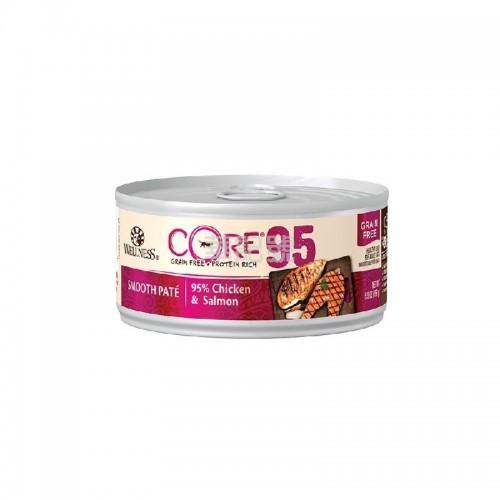 WELLNESS Core 95% 無穀物雞肉三文魚貓罐頭 156 G