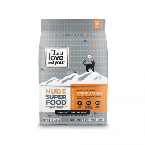 I AND LOVE AND YOU Nude Super Food 火雞小紅扁豆甜薯配方乾貓糧 5 Lb